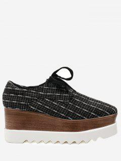 Square Toe Plaid Platform Shoes - Black 38
