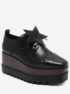 Line Pentagram Platform Shoes - Black 38