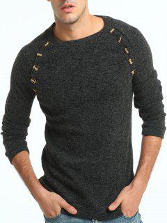 Button Embellished Raglan Sleeve Sweater - Deep Gray L