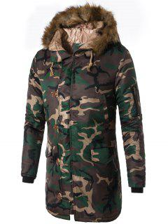 Zip Up Camo Faux Fur Hooded Coat - Green L