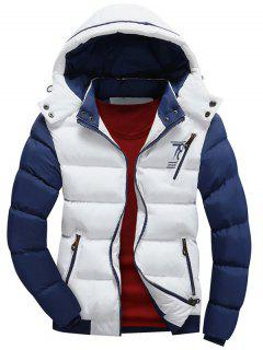 Color Block Puffer Jacket With Detachable Hood - White Xl