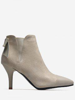 Pointed Toe Bow Elastic Band Boots - Apricot 38