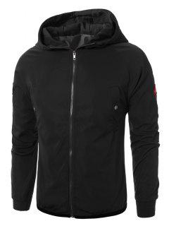 Hooded Raglan Sleeve Appliques Zip Up Jacket - Black 3xl