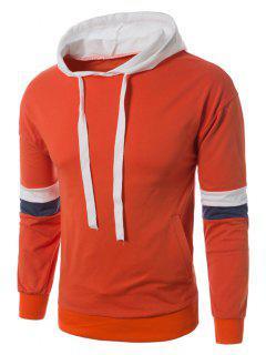 Sweat à Capuche Color Block Avec Cordon De Serrage - Orange Xl