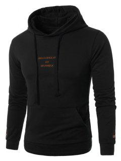 Hooded Graphic Embroidered Pocket Pullover Hoodie - Black 4xl