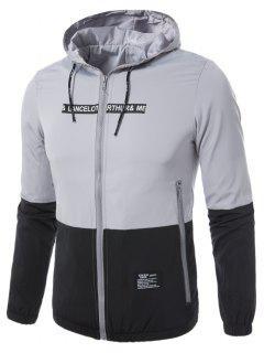 Hooded Braid Embellished Zip Up Lightweight Jacket - Gray 2xl