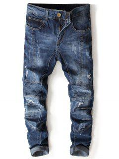 Zipper Fly Accordion Pleat Bleached Panel Ripped Jeans - Denim Blue 32