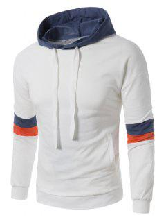 Hooded Color Block Panel Drawstring Pullover Hoodie - White L
