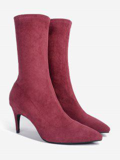 Stiletto Heel Pointed Toe Mid Calf Boots - Wine Red 35
