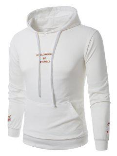 Hooded Graphic Embroidered Pocket Pullover Hoodie - White 4xl