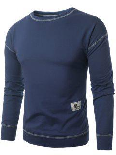 Crew Neck Applique Suture Pullover Sweatshirt - Blue M