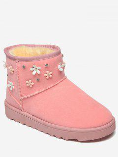Flower Rhinestone Ankle Snow Boots - Pink 38