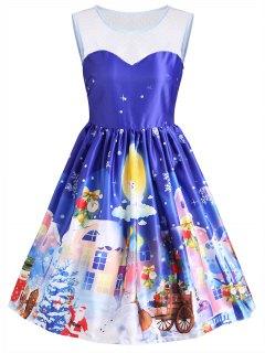 Vestido Vintage De Encaje Sin Mangas Gaphic De Navidad - Azul S