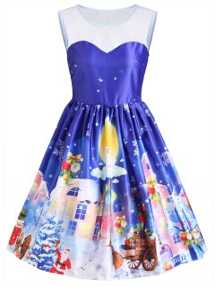Christmas Gaphic Sleeveless Lace Panel Vintage Dress - Blue S