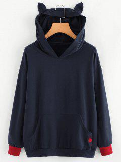 Contrasting Cat Heart Embroidered Hoodie - Purplish Blue L