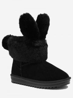 Ankle Rabbit Ear Snow Boots - Black 36