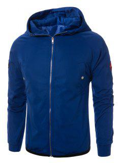 Hooded Raglan Sleeve Appliques Zip Up Jacket - Blue M