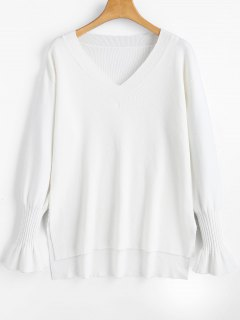V Neck High Low Side Slit Sweater - White