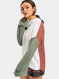 Contrast Drop Shoulder Loose Knit Sweater - Multi