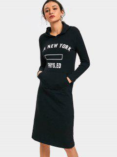 Front Pocket Letter Graphic Hoodie Dress - Black L