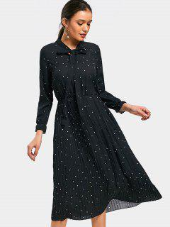Polka Dot Bow Tie Pleated Dress - Black M