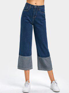 High Waist Contrast Wide Leg Cropped Jeans - Deep Blue M