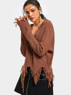 V Neck Tassels Chunky Sweater - Coffee