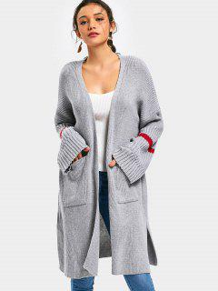Side Slit Open Front Cardigan With Pockets - Gray