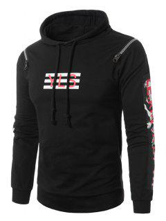 Hooded Zipper Design Figure Graphic Print Pullover Hoodie - Black Xl