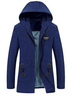 Hooded Horn Button Pockets Applique Long Zip Up Coat - Blue L