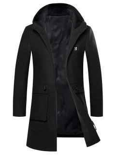 Hooded Embroidered Zip Up Woolen Coat - Black 2xl