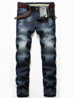 Zip Fly Distressed Jeans With Straight Leg - Denim Blue 36
