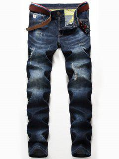 Zip Fly Whisker Pattern Distressed Jeans - Denim Blue 40