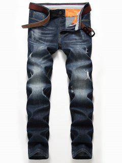 Zip Fly Whisker Design Distressed Jeans - Denim Blue 38