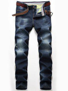 Distressed Zip Fly Straight Jeans - Denim Blue 40