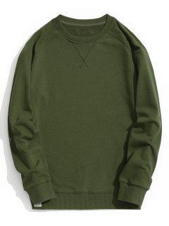 Slim Fit Crew Neck Sweatshirt - Army Green Xl