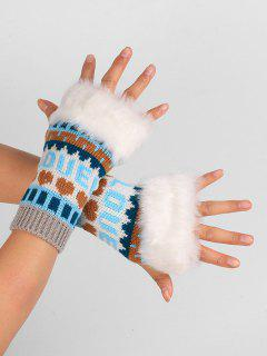 Letter And Heart Embellished Fingerless Knitted Gloves - Light Gray