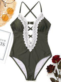 Cross Back Strappy High Cut Maillots De Bain - Vert Armée S