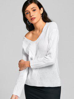 Suéter De Jersey Con Cuello En V Y Cuello Pulido - Blanco L