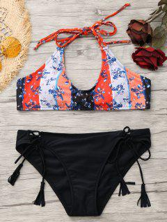 Lace Up Patchwork Print Bikini - Black M
