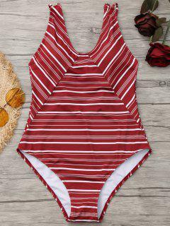 One Piece High Cut Striped  Swimwear - Brick-red Xl