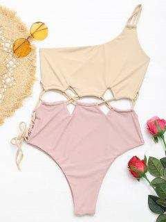 Lace-up Two Tone One Shoulder Swimsuit - Apricot L
