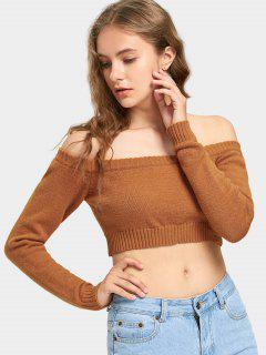 Cropped Off Shoulder Pullover Sweater - Orange Yellow