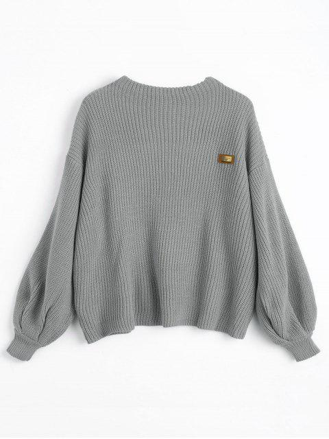 fashion Oversized Chevron Patches Pullover Sweater - GRAY ONE SIZE Mobile