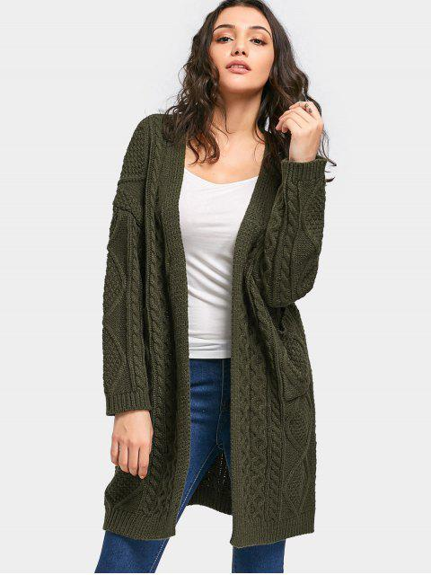 women's Loose Open Front Cable Knit Cardigan - ARMY GREEN ONE SIZE Mobile
