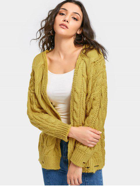hot Ripped Open Front Cable Knit Cardigan - YELLOW ONE SIZE Mobile