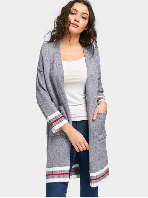 outfits Contrasting Knit Open Front Cardigan - GRAY ONE SIZE Mobile
