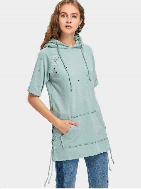 latest Short Sleeve Lace Up Ripped Hoodie - LIGHT GREEN S Mobile