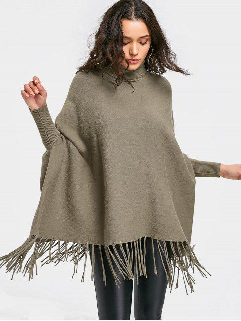 trendy Oversized Cape Fringed Pullover Sweater - GREYISH BROWN ONE SIZE Mobile