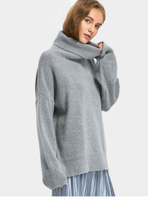 hot Pullover Oversized Turtleneck Sweater - GRAY ONE SIZE Mobile